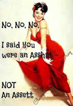 No, no, no. I said you were an asshat, not an a assest.