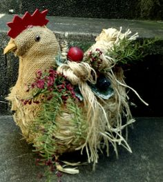 Primitive Straw Chicken floral arrangement with burlap and twine accents