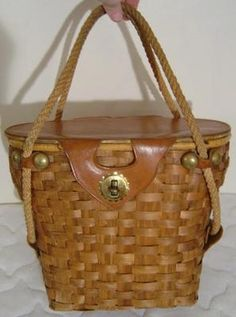 VINTAGE 1950s RONAY LARGE UNUSUAL WOVEN WOODEN & LEATHER ROPE-HANDLE PICNIC SHOPPING BASKET PURSE HANDBAG!