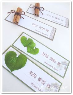 wedding escort card  cinnamon  heart leaf オリジナル席札 ナチュラルウェディング natural wedding