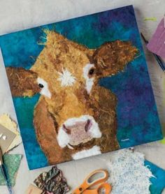 torn-paper-art-by-Robin-Panzer Paper Art Projects, Animal Art Projects, Magazine Collage, Magazine Art, Paper Collage Art, Paper Animals, Cow Art, Torn Paper, Panzer