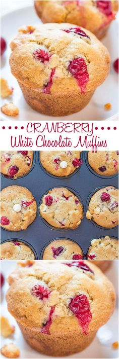 Cranberry White Chocolate Muffins - Soft, fluffy, and bursting with berries in every bite! Perfect way to use your fresh cranberries! Add c unsweetened coconut. Muffins Blueberry, Zucchini Muffins, Orange Muffins, Cranberry Muffins, Baking Recipes, Dessert Recipes, Breakfast Recipes, Xmas Recipes, Yummy Treats