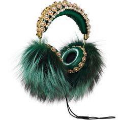 FRENDS x Dolce Gabbana, Embellished Leather Headphones with Green Fox... (10,640 CAD) ❤ liked on Polyvore featuring accessories and dolce&gabbana