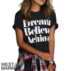 "✨HOST PICK Dream, Believe, Achieve Tee Dark grey tee with ""Dream Believe Achieve"" written across the front- letters have a distressed effect! Shirt is not classic t-shirt material but a thicker, stretchy material! West Market SF Tops Tees - Short Sleeve"