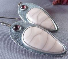 Sterling Jasper and Garnet Earrings by DoxalloStudio on Etsy