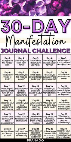 Daily Journal Prompts, Journal Challenge, How To Journal, Gratitude Journals, Love Journal, Challenge Ideas, Dream Journal, Journal Ideas, Spiritual Manifestation