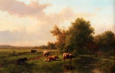 Paintings Reproductions Vester, Willem A Landscape With Cows On A Riverbank, A Farm Beyond