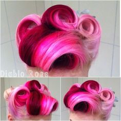 Pink vintage victory rolls i love this