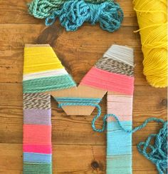 Diy Crafts : Cardboard Letters Wrapped With Yarn Made By Kids . DIY Crafts : Cardboard letters wrapped with yarn made by kids diy crafts for kids at home - Kids Crafts Cardboard Letters, Crafts With Cardboard, Cardboard Box Ideas For Kids, Cardboard Houses For Kids, Cardboard Art, Cardboard Boxes, Diy And Crafts Sewing, Yarn Crafts For Kids, Arts And Crafts For Teens