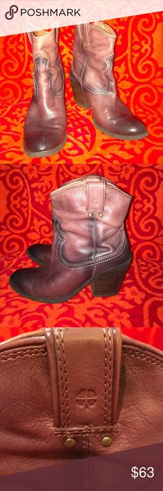 Lucky🍀 Brand Leather Boots These are real leather lucky brand boots they have a 3.5in heel they are distressed brown only worn a few times very good condition they are a 8.5 im a 9 and they fit me Lucky Brand Shoes Ankle Boots & Booties