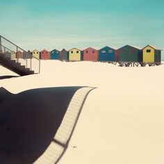 Shadows and sand by Nadia Attura. Beach. Huts. Colour. Slope. Beach. Cape Town.