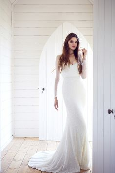 Long sleeved sequin wedding dress Romantic Wedding Dresses with Stunning…
