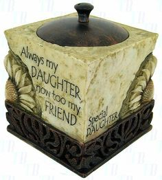 """History & Heraldry Cube Tealight Candle Holder - Daughter - H Gift Home Décor by History & Heraldry. $16.99. 3.5"""" Cube.. """" always my Daughter now too my friend"""". """"Written in Stone"""". A complete selection of sentimental and humorous messages for all occasions. Each piece is detailed in sculpted relief art that is carefully etched with an antique finish, along with a special message for a special someone.Choose from magnets, plaques and tea lights. 2.75 W x 2.75 H ..."""