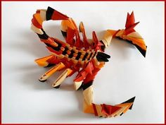 How to make 3d origami Scorpion Tutorial paper gift - YouTube