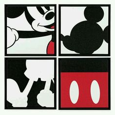 Piece together the four parts of this Mickey Mouse Quartet Artwork to create a fun abstract image of Mickey. The quartet of framed giclées on canvas can be combined to create the full dynamic impact. Mickey Mouse Bathroom, Mickey E Minnie Mouse, Disney Micky Maus, Mickey Mouse Nursery, Deco Disney, Disney Diy, Disney Crafts, Mickey Mouse Wallpaper, Disney Wallpaper