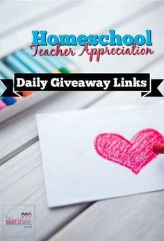 2017 Homeschool Teacher Appreciation Daily Giveaway Links via @hiphmschoolmoms
