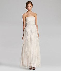 This is ivory... has gold all over, too light? its $90 Hailey by Adrianna Papell Strapless Tulle Gown #Dillards