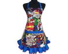 Marvel Super Hero Apron for women Ironman Thor by ElsiesFlat