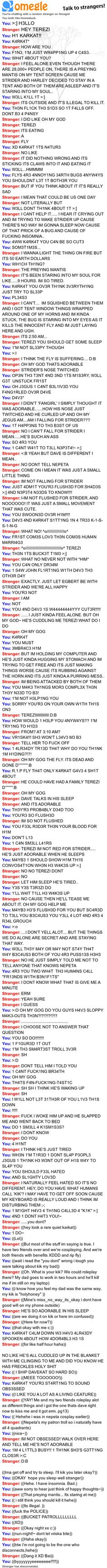 Omegle chat log. I love this stranger x3