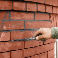 A guide to painting brick siding on your home. Considerations, and a general how… A guide to painting brick siding on your home. Considerations, and. Mortar Repair, Brick Repair, Brick Face, Brick Siding, House Siding, Landscape Bricks, Painted Brick Walls, Brick Steps, Paint Your House