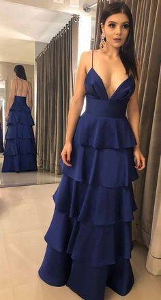A line Spaghetti Straps Navy Blue Prom Dress,Tiered Skirt Navy Blue Party Dress Fashion dresses 2019 Party formal dress mermaid prom dresses