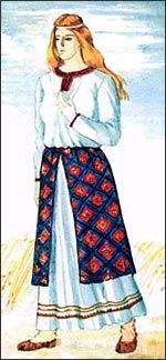 Over the shirt worn skirts - a skirt consisting of three rectangular panels of non-crosslinked, hardened on the waist strap, which formed a lap shirt. Skirts were short shirts, and in front of her floors diverged. Cloth for skirts were often pestryad with checkered, diamond-shaped pattern