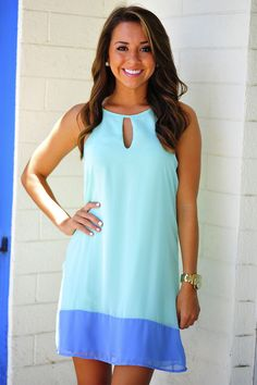 Color Block Dress: Aqua/Periwinkle