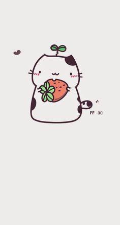 Dibujos kawaii - Gato con fresa - Cute cat with strawberry Kawaii Anime, Chat Kawaii, Kawaii Cat, Kawaii Chibi, Chibi Cat, Kawaii Illustration, Illustration Mignonne, Meme Chat, Cartoon Mignon