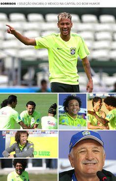 Mosaico sorrisos Seleção Brasileira jogo México (Foto: Editoria de Arte)