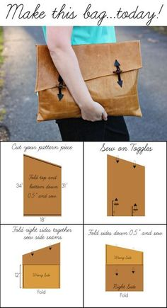Oversized Clutch Tutorial via Alida MakesThis clutch is easier than it looks and looks so chic! Diy Clutch, Diy Purse, Clutch Bag, Best Leather Wallet, Leather Clutch, Pochette Diy, Bag Sewing, Clutch Tutorial, Diy Tutorial