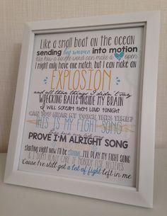 FIGHT SONG Rachel Platten Lyrics FRAMED Print | 8x10 Inspirational Quote Decor | This is my Fight Song Motivational Lyrics | Cancer Survivor
