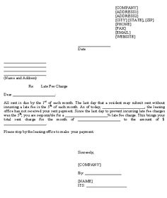 sample letter to tenant for late payment - Google Search ...