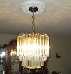 Venini Vintage Murano chandelier - 105 crystal pendants, chrome finish #Venini