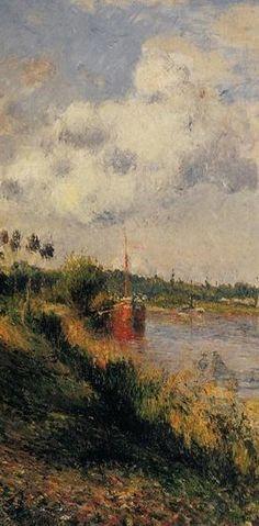 """Camille Pissarro (1830-1903) ~ """"Pontoise, Passage sur le Halage"""", 1879 (Détail) ~ Huile sur Toile ~ Collection Privée"""