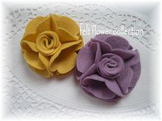 Items similar to Wool Felt Flower 008- 4 pcs Handmade Wool Felt Flower- Collection or Custom Your Own Colors on Etsy