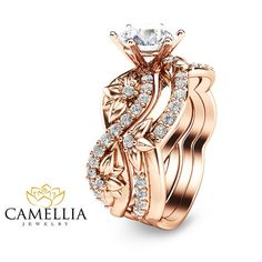 Rose Gold Diamond Bridal Ring Set Unique by CamelliaJewelry