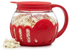 Microwave Popcorn Popper - Enjoy the fresh, healthy taste of stovetop popcorn with the convenience of the microwave. Made from temperature safe borosilicate glass, the main container can be filled with whole kernel corn and then microwaved without the use of oil.