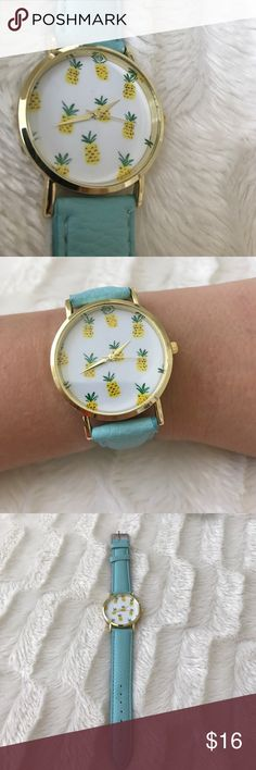 NWOT Pineapple Watch Adorable Pineapple Watch with Tiffany blue band! Perfect for summer! I dressed mine up with string bracelets for that relaxed beachy look! NWOT! Price is firm Accessories Watches