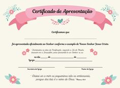 Certificado de apresentação para igreja | Mamãe Criativa | Elo7 Star Wars Sheet Music, Agenda Planner, Baby Alive, Baby Design, God Is Good, Paper Crafts, Templates, Babys, Israel
