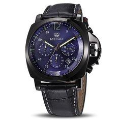 08fbd889e61 MEGIR Original Men Watch Top Brand Luxury Chronograph Military Watches  Leather Quartz Wrist Watches Relogio Masculino