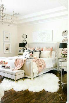 Blush and neutral feminine mater bedroom decor idea