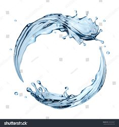 3d realistic water splashing round frame, aqua, clear liquid splash isolated on white background