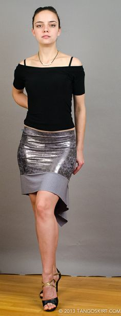 Tailed two-tone metal skirt and an off-she-sholder top for winter. TangoSkirt is a personal design project. TangoSkirt.com