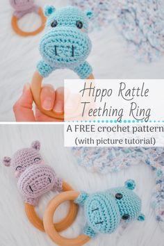 Crochet Hippo, Crochet Baby Toys, Crochet Amigurumi Free Patterns, Newborn Crochet, Free Crochet, Crochet Lovey Free Pattern, Crochet Pacifier Clip, Crochet Rings, Crochet Crafts