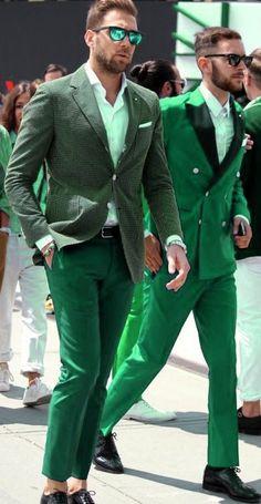 Pantone Green, Green Palette, Emerald Green, Emerald City, Green Fashion, Men's Fashion, Mens Attire, Irish Men, Green Pants