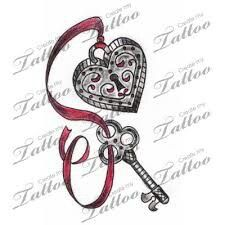Heart and key tattoo
