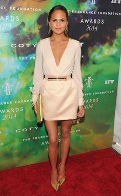 Chrissy Teigen from Best Looks of the Week Mrs. John Legend doesn't disappoint in this dreamy Elisabetta Franchi Mini at the Fragrance Foundation Awards in NYC.