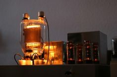 A German Silvercore Vacuum Tube   833C T Stereo Amplifier. Few things are more strikingly beautiful than the soft glow of vacuum tubes.