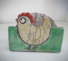 Portatovaglioli in ceramica raku  Portatovaglioli gallina
