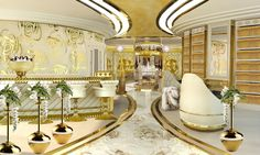Lidia Bersani / La Belle - Luxury Mega Yacht, Library with golden fireplace